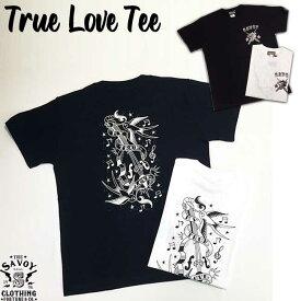 SAVOY CLOTHING True Love Tee タイガー パンサー スワロー メッセージ バックプリント ロゴ Tシャツ アイテム 半袖 ロカビリー ファッション メンズ ホワイト ブラック ロック 原宿 ヴィンテージ ビンテージ アメリカン 50's 50年代 オールディーズ