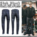 SAVOY CLOTHING Slub Black Denim Slim Pants スラブ織り デニム インディゴ スキニー デニム パンツ ステッチ スリム サヴォイクロー…