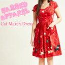 SAVOY CLOTHING BANNED APPAREL Cat March Dress バーンドアパレル キャット プリント ワンピース 総柄 赤 レッド 半袖 ネコ 猫 サヴォ…