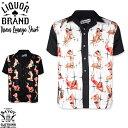 SAVOY CLOTHING LIQUOR BRAND MEN'S Vixen LOUNGE SHIRT ピンナップガール トランプ ラスベガス ラウンジ シャツ オープンシャツ サボ…