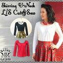 SAVOY CLOTHING Shirring U-Neck L/S Cut&Sew シャーリング Uネック カットソー 長袖 サヴォイクロージング 原宿 ロカビリー ファッシ…