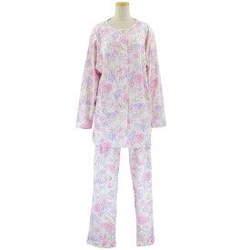 婦人 大きいサイズ 綿100% 襟なし 日本製 パジャマ スムス ねまき●婦人 シニアファッション 秋冬 70代 80代 90代 大きいサイズ