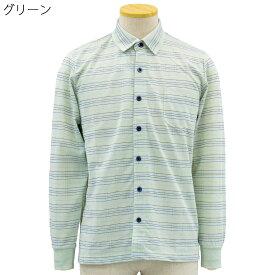 シニア 紳士 マジックテープ ワンタッチ ジャガード ニット シャツ シニアファッション 70代 80代 90代 春夏