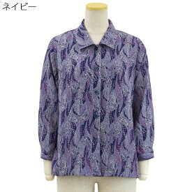 後ろ身頃 ゆったり ブラウス こしぼちりめん 日本製●婦人 シニアファッション 春夏 70代 80代 90代 小さいサイズ