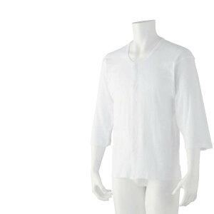 紳士 7分袖 乾燥機対応 前開き ホック スナップボタン 介護肌着 シャツ 取寄せ