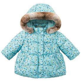 2a6dd135d563c 子供服 女の子 アウター 冬 花柄 フード 温かい 防寒 保温 起毛加工 80 90 100