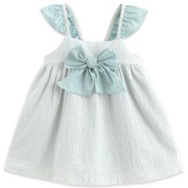 子供服 女の子 ワンピース ジャンパースカート ストライプ リボン フリル袖 80 90 100 110 120 130 cm tq200802 Marc&Janie シンプル 上品