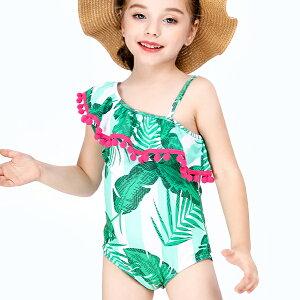 子供用 水着 ワンショルダー ワンピース 女の子 キッズ トロピカル かわいい おしゃれ ms907016 modomoma