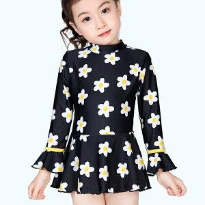女の子 水着 スイムウェア ワンピース スカート 長袖 花柄 夏 かわいい おしゃれ ms907070 modomoma