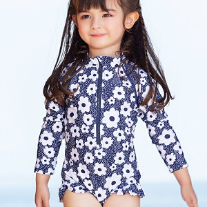 女の子 子供用 水着 スイムウェア ワンピース 長袖 花柄 フリル かわいい おしゃれ ms907091 modomoma