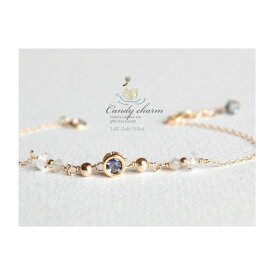 Candycharm14KGF天然石ブレスレット宝石質アイオライト/ゴールドフィルド