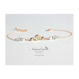 Candycharm 14KGF天然石ブレスレットアクアマリン/3月誕生石/宝石質