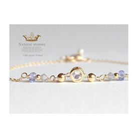 Candycharm14KGF天然石ブレスレット宝石質タンザナイト・ムーンストーン
