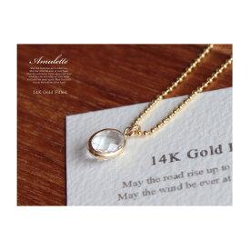 Amulette classic14KGFネックレスクリスタル/宝石質/チェーン45・50cm4月誕生石/オーバル・ファセットカット