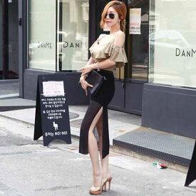 スカート スリット ブラック ミディ丈 大人女子 透け感 シースルー ハイウエスト 通勤 オフィス デート 女子会 シンプル キレイめ かわ小