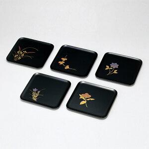 黒刷毛目 半月銘々皿 5枚セット 木製 漆器 和食器 日本製 高級 業務用 菓子皿 和菓子 ギフト 内祝い 小皿 おもてなし おしゃれ かわいい 取り分け皿 沈金 丸皿 プレート 軽量 ポイント アップ