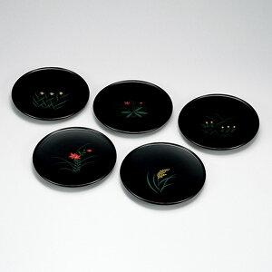 送料無料 四季漆絵 甲台皿 5枚セット 木製 漆器 和食器 日本製 高級 業務用 菓子皿 和菓子 ギフト 内祝い 小皿 おもてなし おしゃれ かわいい 取り分け皿 沈金 丸皿 プレート 軽量 ポイント ア