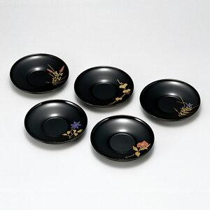 送料無料 四季絵変り 茶托 5枚セット コースター おしゃれ 木製 木 国産 日本製 丸型 漆器 雑貨 菓子皿 和食器 和菓子 ギフト おもてなし プレート 軽い 小皿 内祝い お返し 高級 トレイ ポイ