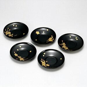 送料無料 桜花絵変り 茶托 5枚セット コースター おしゃれ 木製 木 国産 日本製 丸型 漆器 雑貨 菓子皿 和食器 和菓子 ギフト おもてなし プレート 軽い 小皿 内祝い お返し 高級 トレイ ポイ