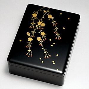 送料無料 しだれ桜花 文庫 手箱 日本製 来客 艶 上品 器 漆器 高級 おすすめ 木 木製 箱 ボックス 就職祝い 昇進祝い 合格祝い ギフト プレゼント 越前塗