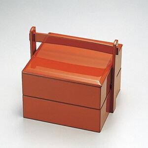 送料無料 朱 手提弁当 弁当箱 漆器 2段 日本製 木 シンプル 和風 大容量 業務用 高級 ギフト プレゼント 贈り物 おすすめ 人気 おしゃれ かわいい 和食器 伝統工芸 ポイント アップ