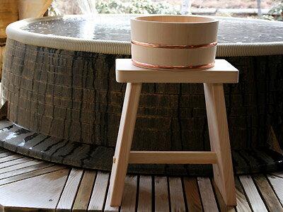 木曽ひのき風呂椅子腰高・丸桶2点セット 【木曽の漆器よし彦】