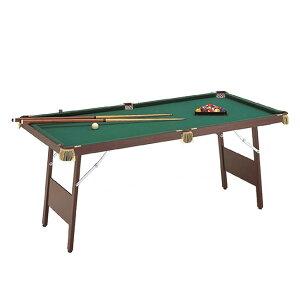 ◎ビリヤードテーブル ES-1800[本格的なビリヤードがご家庭でできるビリヤード台 木製のキュー・球・トライアングルなどもついたビリヤードセット 脚部折り畳み可能] メーカー直送 2-3W