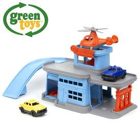 ◎green toys パーキングガレージ GRT-PPGB-1312[おもちゃ 玩具 車 カー 室内 トイ カーパーキング パーキング ガレージ ヘリコプター 駐車車庫 車庫 男の子 男 3才 3才以上 子供 誕生日プレゼント 出産祝い] 即納
