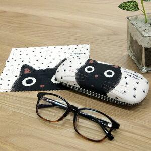 ◎メガネケース クロス付き J487[猫雑貨 ハードタイプの女性におすすめな可愛いめがねケース ネコ柄の眼鏡入れがおしゃれ かわいいデザインの眼鏡ケース 眼鏡クロス付き]