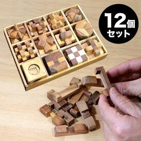 ◎ロックスモーション ウッドパズル 12個セット[木製 立体パズル 大人 子供 高齢者 知育 おもちゃ 脳トレ 立体 パズル 脳 トレ 木のおもちゃ 脳トレパズル] 即納
