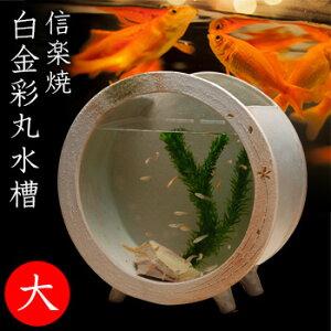 ◎信楽焼 陶水槽 白金彩丸水槽(大) 541-02[金魚やアクアリウムを楽しむ おしゃれな水槽(ガラスと陶器) オブジェや観葉植物を飾って和風のインテリアにおすすめ]