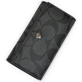 コーチ 財布 キーケース COACH F26104 CQ/BK PVC シグネチャー 4リングス キーケース チャコール/ブラック