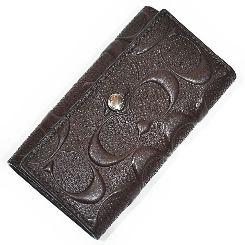 コーチ 財布 キーケース COACH F26105 MAH クロスグレイン レザー シグネチャー 4リングス キーケース マホガニー