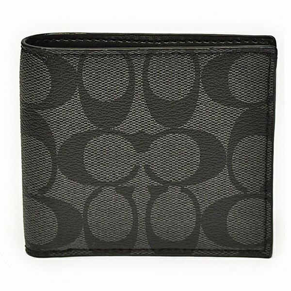コーチ COACH 財布 折財布 メンズ F75083 CQ/BK PVC シグネチャー ダブルビル ウォレット チャコール/ブラック