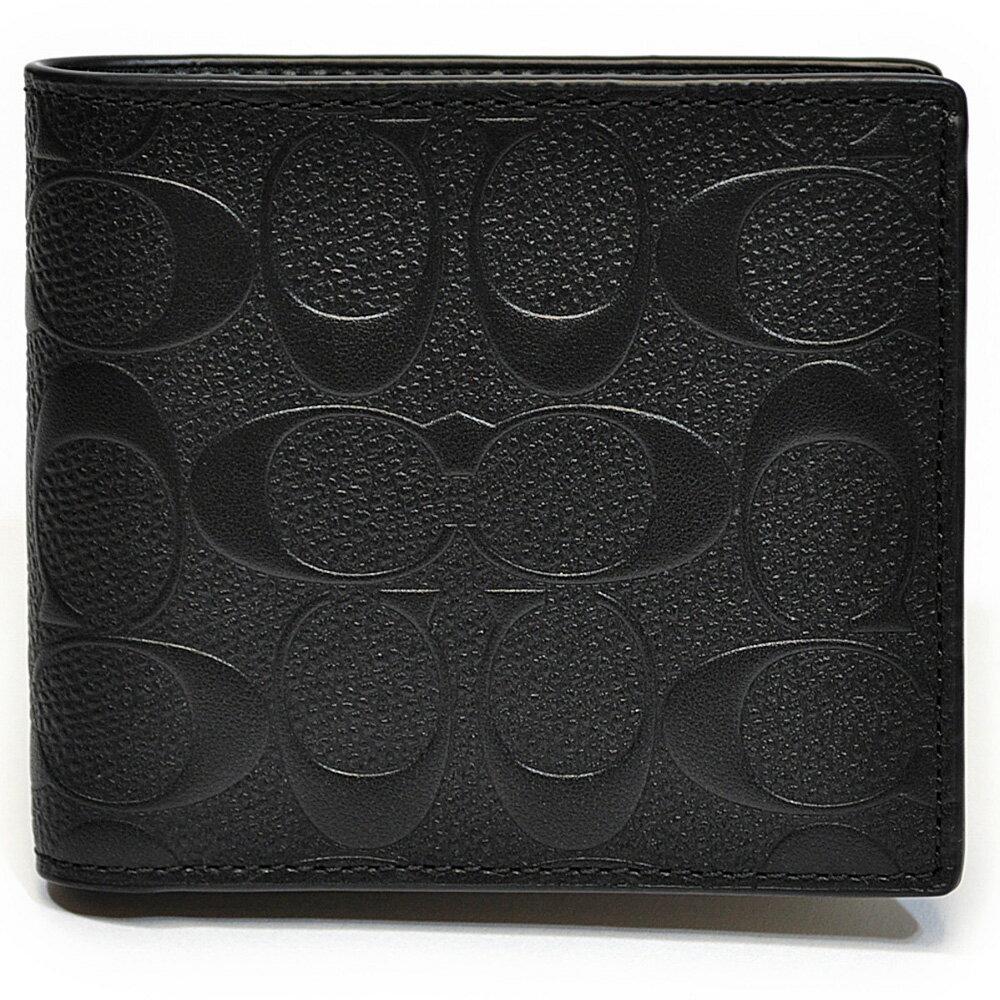 コーチ COACH 財布 折財布 メンズ F75363 BLK シグネチャー クロスグレイン レザー コイン ウォレット ブラック