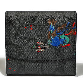 コーチ COACH 財布 折財布 F23399 SVM5O PVC シグネチャー バード プリント スモール ウォレット ブラックスモーク