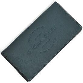 コーチ COACH 財布 長財布 メンズ F24653 DEN ロゴ モチーフ レザー ブレスト ポケット ウォレット デニム