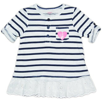 Child navy horizontal stripe & glitter heart long sleeves tunic baby gift dress style of Carter's (Carter's) manager recommended ★ woman