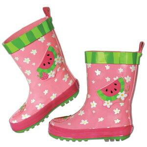 【訳あり・アウトレット】 ステファンジョセフ 女の子用花柄xフルーツ雨の日もへっちゃらカラフルレインブーツ (size6) いちご長靴 雨具 梅雨対策グッズ Stephen Joseph ピンクスイカレインシュ