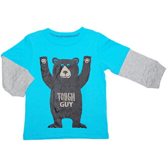 Light blue bear TOUGH GUY layering-like long sleeves T-shirt bear pattern Ron T tops sale gift present for the Carter's (Carter's) boy