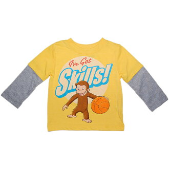 George layering-like long sleeves T-shirt baby gift character yellow Ron T loving the yellow I've Got Skills! basketball for the George boy of the monkey