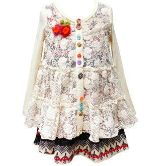 寶貝薩拉寶貝蘇拉為女孩代花蕾絲開衫 & 公平島模式穿著正式的婚禮禮物去衣服的兩個點集