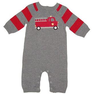 疯狂 8 (Crazy8) 男孩灰色消防汽车针织腿没有工作服,庆祝生日,连体裤、 连裤,金宝贝妹妹品牌