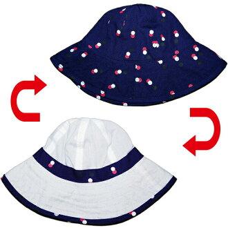 老海軍老海軍媽媽海軍藍色PRF圓點 & 馬 ofwhiteliversiblesan 帽子的防曬帽子