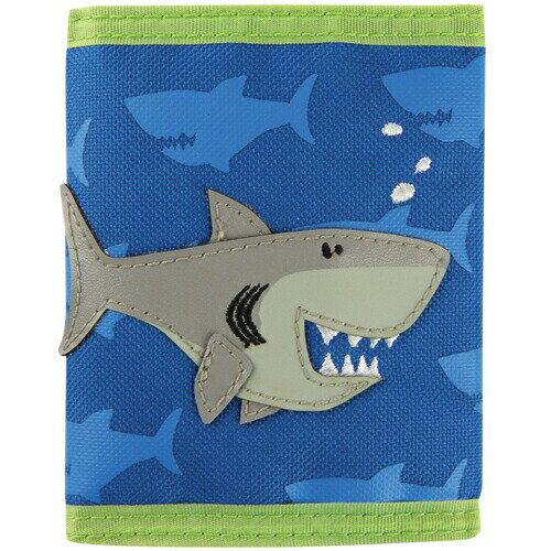 ステファンジョセフ Stephen Joseph 男の子用ブルー&黄緑シャークのお財布 青小銭入れ 青小物入れ さめデザインのさいふ サメ柄子供用財布 【ラクーポンで送料無料】
