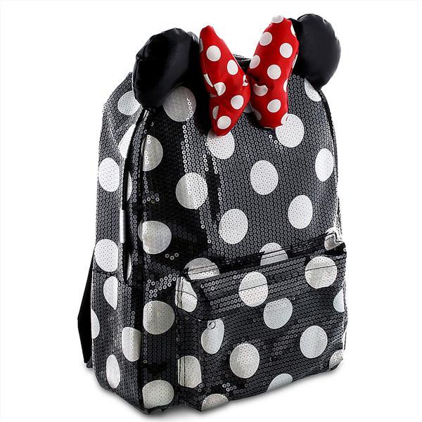 【訳あり・軽微なキズあり】 Disney ディズニー ミニーマウス Minnie Mouse ナイトブラックx白水玉模様スパンコールリュックサック バックパック カバン 鞄 バッグ 旅行 【ラ・クーポンで送料無料】【返品・交換不可】