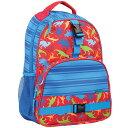 ステファンジョセフ 男の子用ブルー恐竜総柄メッシュポケット付きリュックサック バックパック デイバッグ かばん バッグ 通園・通学バ…
