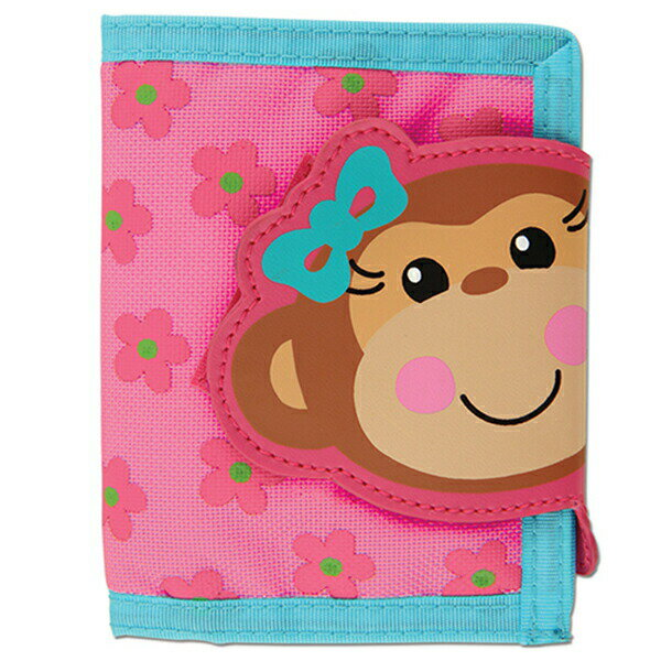 ステファンジョセフ Stephen Joseph 女の子用水色xピンクモンキーガールのお財布 さる サル小銭入れ小物入れ ベビー用ポーチ さいふ 子供用財布 【ラクーポンで送料無料】