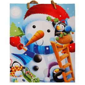 雪ダルマさんとペンギン物語の小サイズ手さげ袋 25.5x20x10.5cm ペーパーバッグ お土産袋 手さげ袋 手提げ袋 包装 ラッピング クリスマス 出産祝い 【ラクーポンで送料無料】