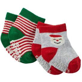 カーターズ carter's 靴下2枚セット 男女兼用サンタさんxクリスマスボーダーソックス2枚組セット 靴下ギフト くつした ブーティー 出産祝い Xmas X'mas 【ラ・クーポンで送料無料】【楽ギフ_包装選択】